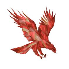 eagle fiery phoenix made up of polygons triangles bright red brown dark red burgundy