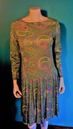 60's vintage green and pink  paisley polyester drop waist handmade long sleeve dress     Med   55.00 by LindaLousFunkyFinds on Etsy