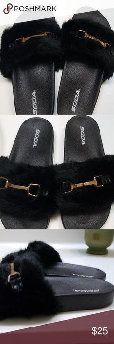 29875999f Soda women slip on sandals Soda women slip on soft fur fuzzy sandals slide  slippers flip