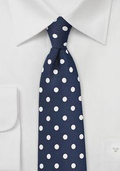 Navy Blue Necktie with White Polka Dots | $10 on Cheap-Neckties