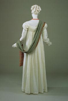 Regency Embroidered Dress with Wrap. Circa 1815. In White Cotton Muslin, Embroidered in white with a delicate all-over design of sprigs and sheaves of wheat worked in stem stitch and long and short stitch.
