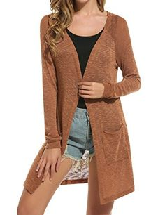 936ddd8ace Leezeshaw Women Solid Open Front Hip Length Knitted Cardigan Duster Sweater  S-XXL