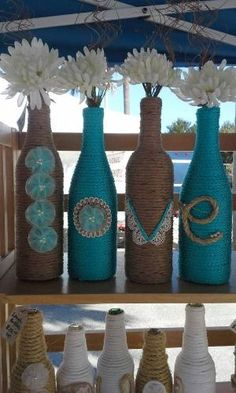 Upcycled Wine Bottles wrapped in twine and by StacysHappyPlace by Beth Lingerfelt