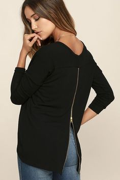 Did your heart just skip a beat? The Zip to My Lou Black Sweater Top has been known to have that effect! Soft black knit is just what you need, with long sleeves, a splendid scoop neck, and a high-low hem. An exposed zipper down the back adds a little edgy appeal in shiny gold.
