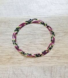 Long Watermelon Beaded Necklace Dainty Layering by ArtandKnot