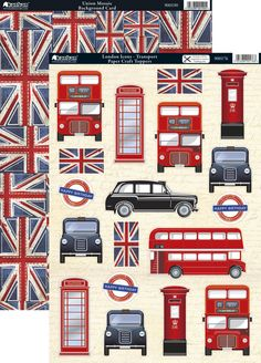 Kanban Cool Britannia die cut toppers & card - London Icons - Transport, bus, taxi British Values, British Party, London Icons, Airplane Decor, London Party, School Displays, London Calling, Vintage Labels, Union Jack
