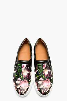 GIVENCHY Black Leather Floral Print Slip-On Shoes