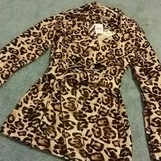 Super cute New leopard print jacket with Belt Super cute New leopard print jacket with Belt. Brand new with tags never worn. Pet free smoke-free home. Perfect condition and super cute with flats, leggings, knee high boots etc. Modmodele Jackets & Coats