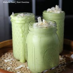 Get your healthy green vegetables in for breakfast with this Healthy Green Pina Colada Smoothie. All the sweetness comes from whole fruit!