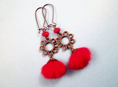 Fur Earrings Bright Red Mink Fur and Copper Flower by justEARRINGS