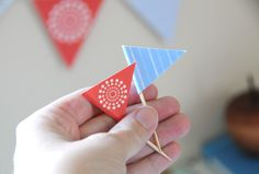 flag pennants. cake bunting and cupcakes