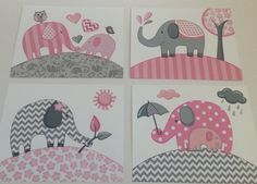 Pink gray elephant chevron nursery kids art by theprincessandpea, $21.00