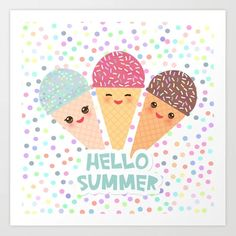 Ice Cream Waffle Cone, Waffle Cones, Season Quotes, Plastic Stickers, Personalized Water Bottles, Hello Summer, Transparent Stickers, Sticker Design, Stationery