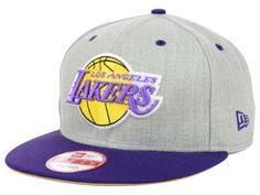 Los Angeles Lakers New Era NBA Hardwood Classics Heather Gray 9FIFTY Snapback Cap Hats