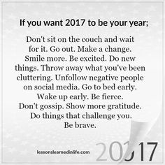 If you want 2017 to be your year...