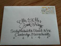 invitation calligraphy sent - thanks, Liz Rosseler for your beautiful work!