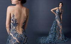 Paolo Sebastian's midnight blue illusion lace wedding gown that celebrity bride Dominique Choy wore for her wedding // The Sleeping Garden: Paolo Sebastian's Autumn/Winter 2015 Collection