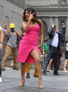 Priyanka Chopra is captured while dancing on the set of -isn't it romantic on july14,2018