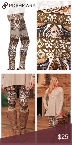 Infinity Raine brown mixed print leggings-NWT! Infinity Raine brown mixed print leggings-NWT! These are super soft brushed knit leggings! Made from 92% polyester/ 8% spandex. One size fits most between sizes small-large. Just through a long sleeve top over these and you are good to go! These are extremely limited! Infinity Raine Pants Leggings