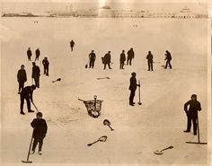 """This image comes from the closing weeks of WWI and shows a group of """"British Jackies"""" readying a portion of the River Dwina at Archangel (Archangelsk) as a skating rink."""