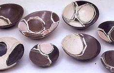 Ceramics by Carolyn Genders at Studiopottery.co.uk - Landscape Rocking Bowls, 2004. 20-20cm diameter.