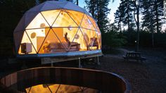 The Dream Domes in New Brunswick are semi-transparent and provide spectacular views of the surrounding forest. Large terraces with wood-fire...