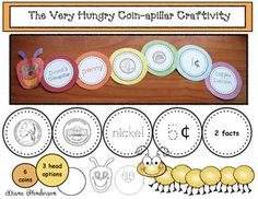 """Butterfly Caterpillar activities:  The Very Hungry """"Coin-apillar"""" features the penny, nickel, dime, quarter, half-dollar and dollar coins.  Use as a whole-group craft, independent puzzle center, anchor charts, assessment tool, and games."""