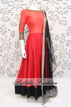 PalkhiFashion Exclusive Full Flair Peach/Red Silk Outfit with Palazzo Pant and Elegant Duppata.
