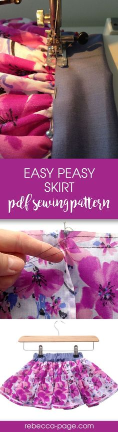Easy beginners sewing pattern for a girls skirt. Great sewing project.