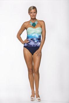 Ombre Bandeau Turquoise Palm Paradise https://www.facebook.com/NoosaSwimwear