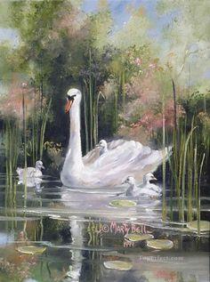 swan and cignets Watercolor Animals, Watercolor Flowers, Watercolor Paintings, Swan Painting, China Painting, Beautiful Swan, Beautiful Birds, Bell Art, Wildlife Art