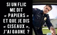 "If a cop says ""papers"" and I say ""scissors"", do I win? Funny Me, Funny Jokes, Lol, Image Fun, Rick Riordan Books, French Quotes, Funny Facts, Words Quotes, Laugh Out Loud"