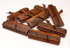 Amazing Set of Eight Carved Moulding Planes