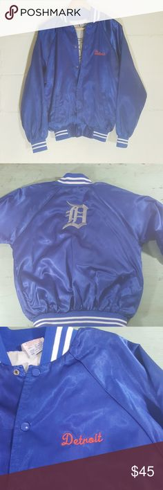 Vintage Detroit tigers jacket M Venus athletic wear. Medium. In super preowned condition. One snag pictured. Blue orange white grey Jackets & Coats