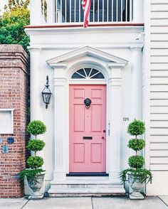 "11 Likes, 1 Comments - Mary Miller (@glimpsesofthesouth) on Instagram: ""Pretty doors of Charleston - headed there in 2 days ! #house #pink #doors #housedesign…"""