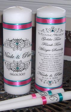 Unity Candle  Set with Memorial Candle - lovely way to honor those no longer with you