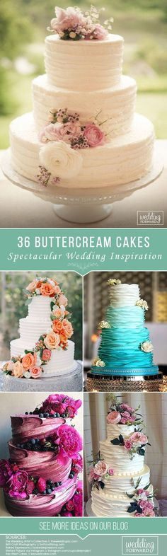 36 Spectacular Buttercream Wedding Cakes ❤ Buttercream wedding cake is one of the most popular options for many couples. These cakes can be easily flavoured, coloured or decorated with flowers. See more: http://www.weddingforward.com/buttercream-wedding-cakes/ #weddings #cakes #bridalcakes #weddingcakes #buttercreamweddingcakes