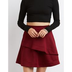 Charlotte Russe Full Tiered Skater Skirt (110 RON) ❤ liked on Polyvore featuring skirts, burgundy, high waisted midi skirt, high-waisted skirts, red skater skirt, skater skirts and red flared skirt