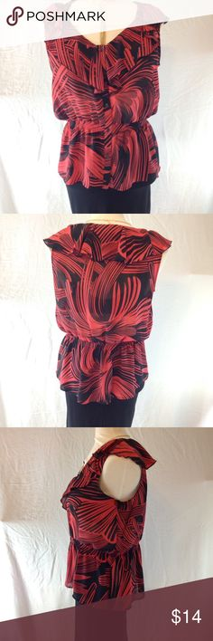 NWOT Miss Tina ( Tina Knowles ) Blouse NWOT Red and Black cinched waist for slimming effect Miss Tina Blouse.. Miss Tina by Tina Knowles Tops Blouses