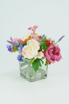 Artificial Flower Display; Peony, Lavender & Sweet Pea