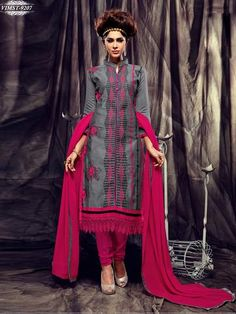 MASTANI-9201 Churidar Suits, Pink White, Top Colour, Grey, Cotton, Collection, Tops, Dresses, Fashion