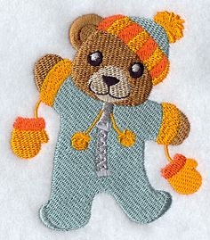 """Bear in SnowsuitProduct ID:E8364 Size:3.3""""(w) x 3.86""""(h) (83.7 x 98 mm)Color Changes:11 Stitches:15708Colors Used:9"""