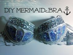 In this DIY tutorial from Adore Me, we show you how to turn a bra into a dazzling Mermaid costume! Whether you want to be Ariel from The Little Mermaid or a . Rhinestone Bra, Bedazzled Bra, Mermaid Bra, Mermaid Shell, Mermaid Parade, Diy Bra, Belly Dance Outfit, Festival Costumes, Diy Tops