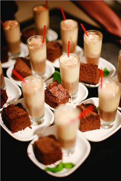 mini brownies and milkshakes!!! great for a party!!!