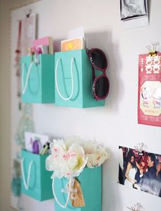 Shopping Bag Supply Holders | 25 Gorgeous DIYs For Your Teenage Girl's Room #create
