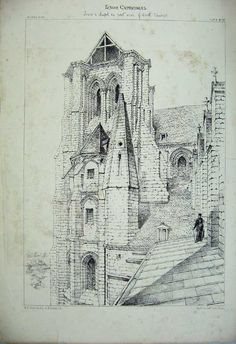 Print Laon Cathedral Tower C1875 France Architecture Church