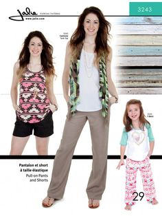Jalie 3243 - Pull-On Pants and Shorts Pattern for Girls and Women