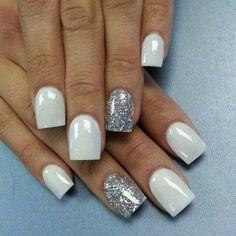 Short nail designs winter holidays lovely christmas nails nails i French Nails Glitter, Silver Acrylic Nails, White And Silver Nails, Silver Glitter, White Sparkle Nails, Glitter Boots, White Nail, Gorgeous Nails, Love Nails