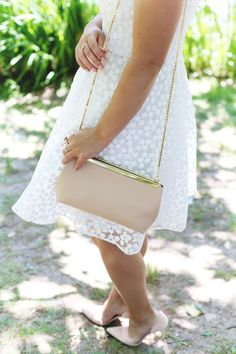 White embroidered floral dress, blush pink bag. #style #fashion #twirl #floral
