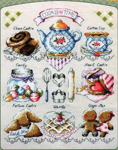 Cookie Time by Soda Stitch, chart only Cross Stitch House, Cross Stitch Boards, Cross Stitch Kitchen, Cupcake Cross Stitch, Simple Cross Stitch, Modern Cross Stitch, Cross Stitch Beginner, Easy Cross Stitch Patterns, Cross Stitching